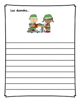 Diario de escritura - diciembre.  Spanish writing journal for December