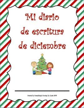 Diario de escritura - diciembre.  Spanish writing journal