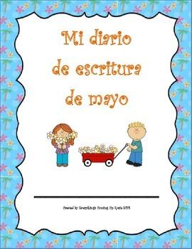 Diario de escritura - mayo.  Spanish writing journal for May