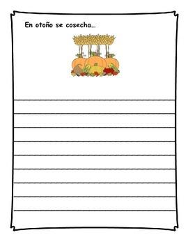 Diario de escritura - noviembre.  Spanish writing journal for November