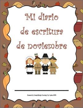 Diario de escritura - noviembre.  Spanish writing journal
