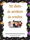 Diario de escritura - octubre. Spanish writing journal for October