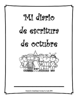 Diario de escritura - octubre. Spanish writing journal for October