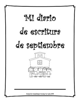 Diario de escritura - septiembre.  Spanish writing journal for September