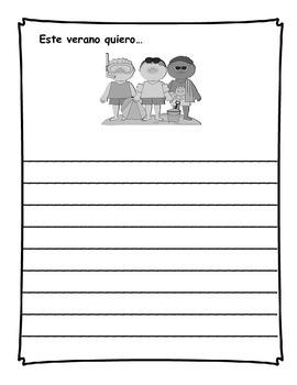 Diario de escritura - verano.  Summer writing journal