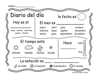 Spanish Diario del día (Spanish Calendar & Weather Journal Page)