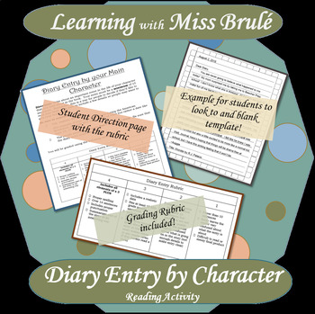 Reading Activity - Diary Entry by Book Character