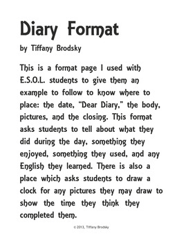 Diary Format Created for E.S.O.L. Creative Writing Project