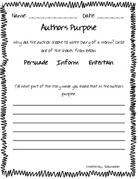 Diary of A Worm Author's Purpose