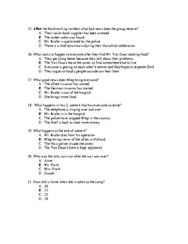Diary of Anne Frank-Act 2 Quiz