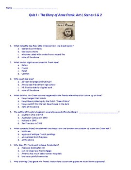 Diary of Anne Frank Act I Quiz