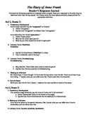Diary of Anne Frank: Act I Standards-Based Reader Response Packet