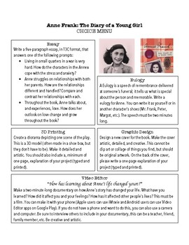 Diary of Anne Frank Choice Menu