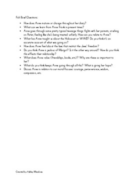 Diary of Anne Frank Fish Bowl Questions