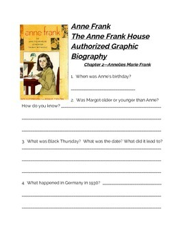 Diary of Anne Frank Graphic Novel Comprehension Questions