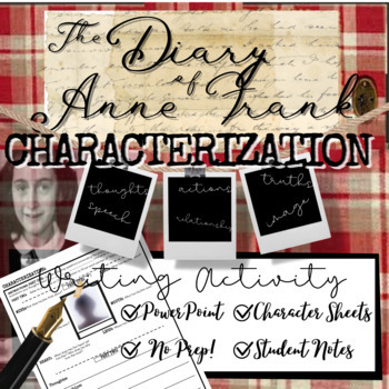 Diary of Anne Frank Lesson: Characterization / Analysis and Self-Reflection