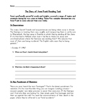 Diary of Anne Frank Passages Reading Comprehension Worksheet