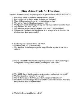 Diary of Anne Frank Play - Act One Questions