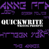 THE DIARY OF ANNE FRANK QuickWrite Journal Writing Prompts