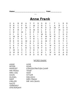The Diary of Anne Frank- Word Search