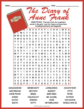 Diary of Anne Frank Word Search