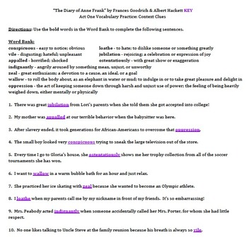 """""""Diary of Anne Frank"""" by Goodrich & Hackett - Vocabulary Practice: Context Clues"""