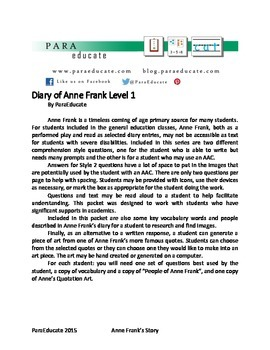 Diary of Anne Frank for Students with Disabilities