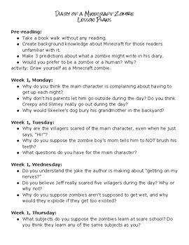 Diary of  Minecraft Zombie Discussion Questions and activities