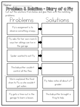 Diary Of A Fly Problem And Solution Worksheet By Kmwhyte S Kreations