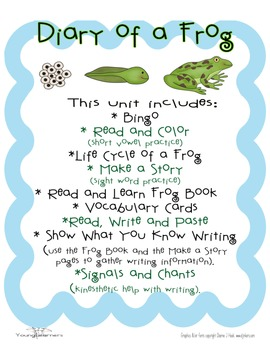 Diary of a Frog: science, writing, vocabulary and printables based on CCSS