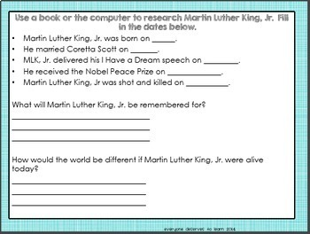 Martin Luther King, Jr. Biographical Interactive Book