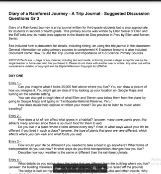Diary of a Rainforest Journey - A Primary Source PDF