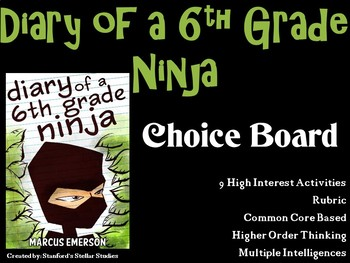 Diary of a Sixth Grade Ninja Choice Board Novel Study Activities Menu Project
