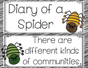 Diary of a Spider Anchor Charts and Word Cards Journeys 2nd Grade Focus Wall
