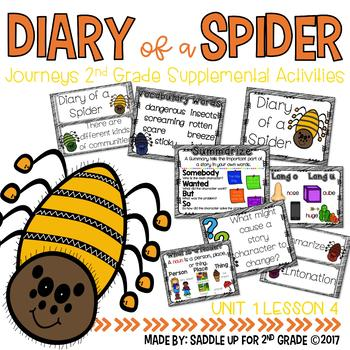 Diary of a Spider Anchor Charts and Word Cards Journeys 2n