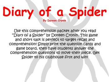 Diary of a Spider Comprehension Packet