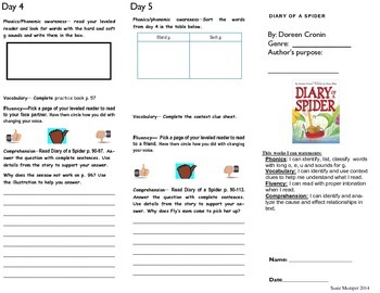 Diary of a Spider Journeys lesson 4 Trifold