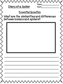 Diary of a Spider Journeys Second Grade Unit 1 Lesson 4 Activities & Printables