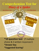 Diary of a Spider Test and Answer Key!