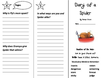 Diary of a Spider Trifold - Journeys 2nd Gr Un 1 Week 4 (2014, 2017 Common Core)