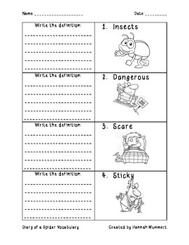 Diary of a Spider Vocabulary