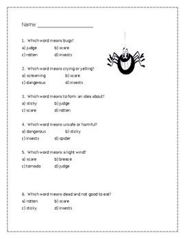 Diary of a Spider vocabulary quiz - Journeys Unit 1, lesson 4