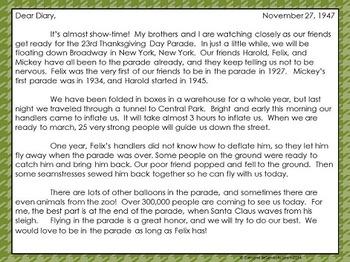 Thanksgiving Parade Informational Text Interactive Book
