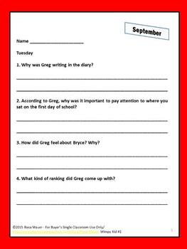 Diary of a Wimpy Kid #1 Reading Comprehension Book Unit