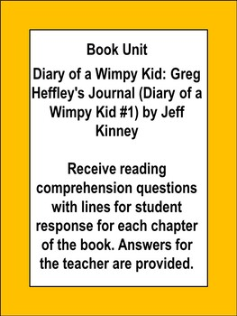 Diary of a Wimpy Kid Novel Study