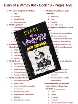 Diary of a Wimpy Kid - Book 10 - Old School - Multiple Choice Quiz
