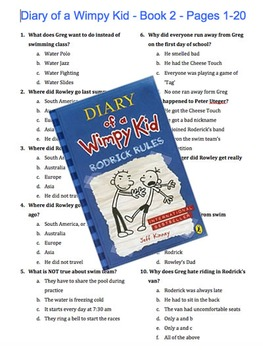 Diary of a Wimpy Kid - Book 2 - Rodrick Rules - Multiple Choice Quiz w/ Key