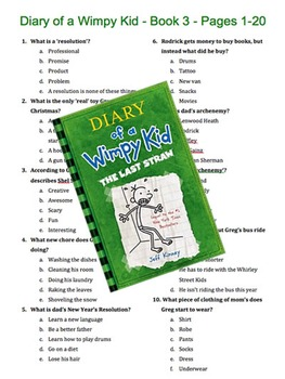 Diary of a Wimpy Kid - Book 3 - The Last Straw - Multiple Choice Quiz
