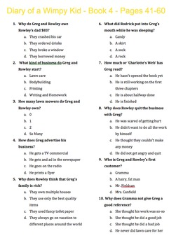 Diary of a Wimpy Kid - Book 4 - Dog Days - Multiple Choice 11 Quizzes