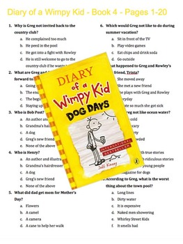 Free 6th grade short stories novel study resources lesson plans diary of a wimpy kid book 4 dog days multiple choice quiz ccuart Images
